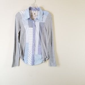3/$30  Tiny M Button Front Patchwork Top 3228